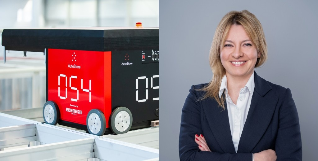 Managing director for Poland, Anna Wisniewska and an AutoStore robot